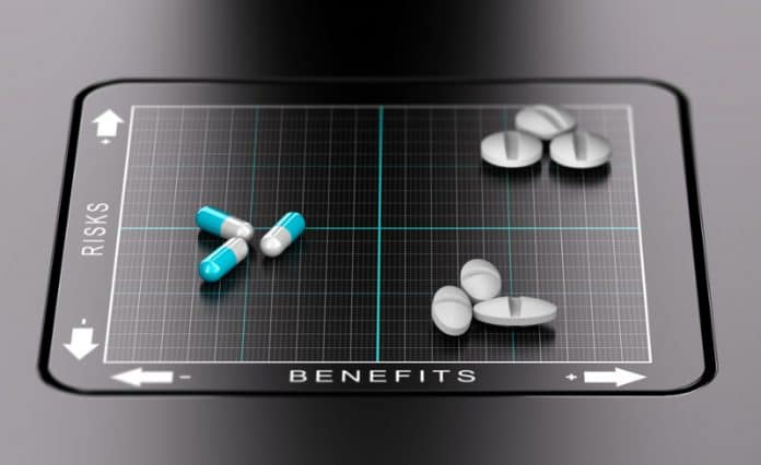 Risks vs Benefits of Medication Concept