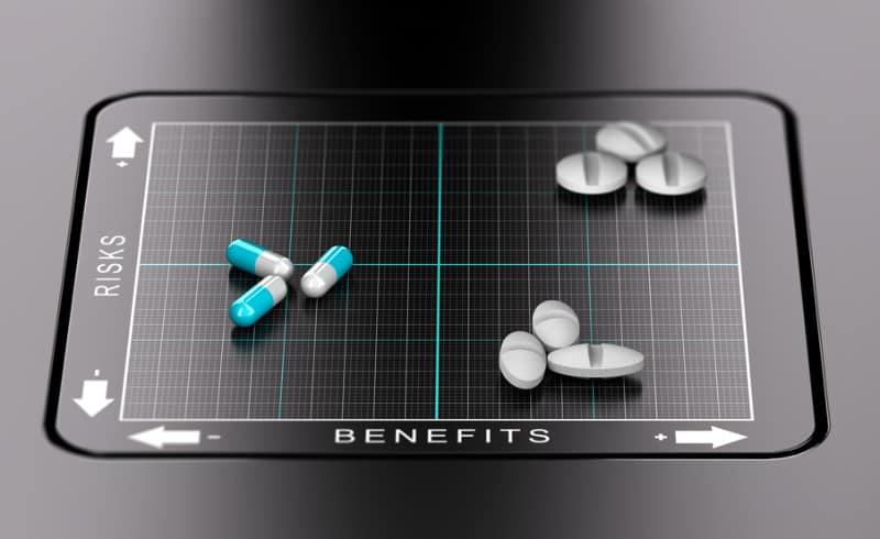 Risks vs Benefits of Medication Concept